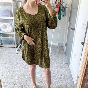 Flax Long Sleeve Green Patterned Mini Tunic Dress